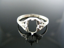 3394 RING SETTING STERLING SILVER, SIZE 6.5, 8X6 EMERALD STONE