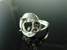 6129 Ring Setting Sterling Silver Size 7.25, 11x9 mm Oval Gemstone