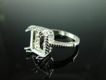 6146 Ring Setting Sterling Silver Size 8.75, 11x9mm Emerald Cut Gemstone