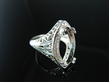 6150 Ring Setting Sterling Silver Size 8.25, 20x10 mm Marquise Cut Gemstone