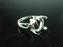 6156 Ring Setting Sterling Silver Size 5.75, 12x10 mm Oval Cabochon Only Gemstone