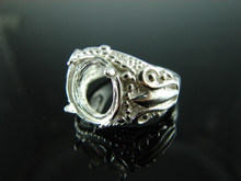 6160 Ring Setting Sterling Silver Size 7.25, 11.5x9.5 mm Oval Facet or Cab Gemstone