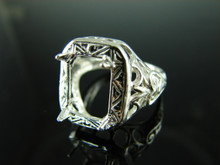 6165 STERLING SILVER RING SETTING , 11x9 MM EMERALD CUT FACETED GEMSTONE, SIZE 7.75