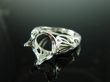 6166 Ring Setting Sterling Silver Size 8.5, 12x10 mm Oval Cut Gemstone