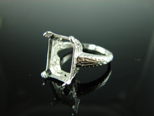 6180 Ring Setting Sterling Silver Size 8.25, 13x10 Emerald Cut Gemstone