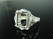 6182 Ring Setting Sterling Silver Size 9.5, 12x10mm Emerald Gemstone