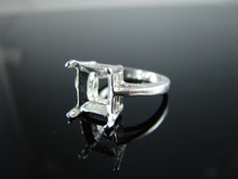 6185 Ring Setting Sterling Silver Size 5.25, 10x8mm Emerald Rectangle Cut Gemstone