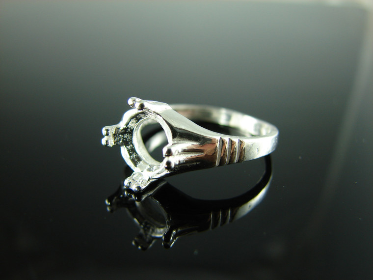 D6322 Sterling Silver Ring Setting 9 MM Round Faceted Stone Size 7 Free Sizing And Free Shipping