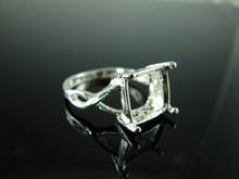 6194 Ring Setting Sterling Silver Size 8, 11x9mm Emerald Cut Gemstone