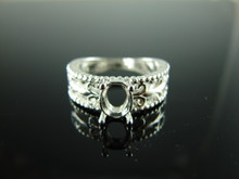 6195 Ring Setting Sterling Silver Size 7.25, 7x5 mm Oval Gemstone