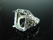 6199 Ring Setting Sterling Silver Size 7.75, 13x10 mm Emerald or Rectangle Gemstone