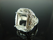 6200 Ring Setting Sterling Silver Size 7.75, 12x10mm Emerald or Rectangle Gemstone