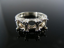 3125 RING SETTING STERLING SILVER, SIZE 6.5, 3 STONE 7 MM ROUND FACETED