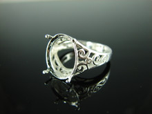 6204 filigree ring oval 14x12 faceted stone ,size 9.5