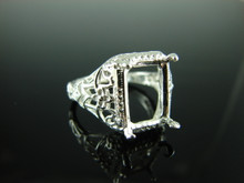 6205 Ring Setting Sterling Silver Size 8.25,oval faceted gemstone