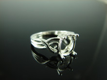 6041 Ring Setting Sterling Silver Size 7,oval faceted gemstone