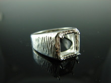 6027 Ring Setting Sterling Silver Size 9, 10x8 Emerald Gemstone