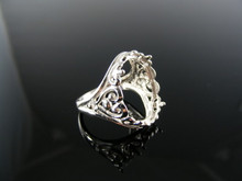 729  RING SETTING STERLING SILVER, SIZE 5.5, 17X14 MM OVAL CAB. STONE