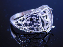 6222 Filigree antique style ring, 12 x 10 mm cab. or faceted oval stone