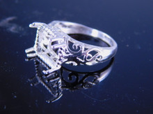 6247 Sterling Silver Ring 10 x 8 mm emerald cut , Size 6.25
