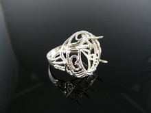 4886 RING SETTING STERLING SILVER, SIZE 6.5, 20x15 MM OVAL STONE