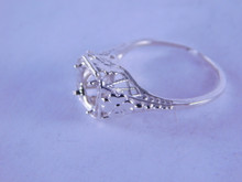6265 Antique filigree sterling silver ring mounting, 6 mm faceted stone, size 4.75