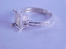 6282 RING SETTING STERLING SILVER, 9 X 7 EMERALD CUT, 2- 2.5 MM ROUND ACCENT STONES, SIZE 7
