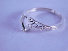 6288 Ring Filigree Sterling Silver, 7x5 mm oval shallow cut gemstone, Size 7