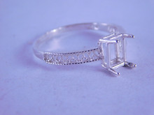6292 Sterling silver filigree ring setting that holds an 8x6 mm emerald cut stone,  Size 8.5