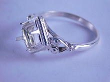 6295 Sterling Silver Ring Setting, 6 mm Faceted or Cab Cut Square Stone, Size 7.5