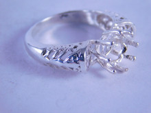 6297 Sterling Silver Ring Setting, 8 mm Round Faceted Stone, Size 6.5