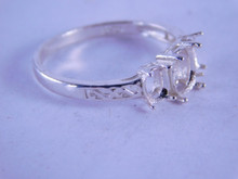 6299 Sterling Silver Ring Setting 3 Stone 1-7x5 and 2-5x4 mm Stones, Size 6