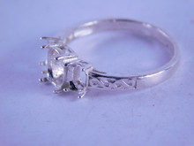 6300 Sterling Silver Ring Setting 3 Stone 1-7x5 And 2-5x4 mm ovals, Size 8.25