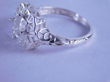 6308 Sterling Silver Filigree Ring Setting, 6x6 mm Square Stone, Size 8