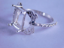 6315 Sterling Silver Ring Setting, 10x8 mm Emerald Cut Stone, Size 7
