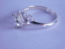6317 Sterling Silver Ring Setting, 1-8mm And 2-3mm Accents, Size 7