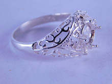 6273 STERLING SILVER RING SETTING, 8 MM ROUND & 4-2MM ACCENTS, SIZE 12