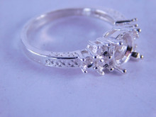 6321 STERLING SILVER RING SETTING, 8 MM ROUND & 6-3 MM ACCENTS, SIZE 8.5