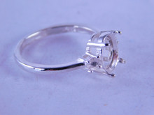 6323 STERLING SILVER RING SETTING, 9X7 MM CENTER & 2-3MM ACCENTS, SIZE 6.75