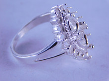 6327 STERLING SILVER RING SETTING, 2-7X5 MM PEARS & 16-2.5 MM ROUNDS, SIZE 8