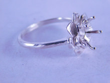 6329 STERLING SILVER RING SETTING , 8 MM ROUND STONE, SIZE 8.5