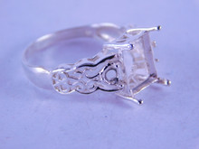 6333 STERLING SILVER RING SETTING, 10X8 MM EMERALD CUT & 2-3 MM ROUNDS, SIZE 8