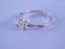 6339 STERLING SILVER RING SETTING, 6 MM CUSHION CUT W/ 2-1.75 MM ACCENTS, SIZE 8.25