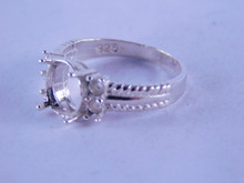6341 STERLING SILVER RING SETTING, 9 X 7 MM OVAL WITH 4-2.5 MM ACCENTS, SIZE 7