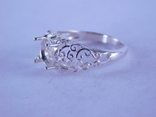 6344 STERLING SILVER FILIGREE RING SETTING, 8 MM ROUND, SIZE 7