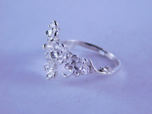6346 STERLING SILVER RING FLOWER SETTING, 5-2.5 MM ROUND STONES, SIZE 7