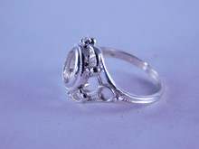 6347 STERLING SILVER RING SETTING, 8 X 6 MM OVAL BACK SET, SIZE 6