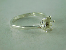 6387  RING STERLING SILVER, 7 MM ROUND GEMSTONE, SIZE 8.25