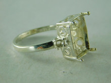 6385 RING STERLING SILVER THREE STONE, 12 X 10 MM & 2-ACCENTS2.5 MM , SIZE 7.75