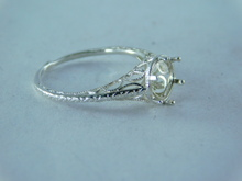 6377 RING STERLING SILVER FILIGREE, 7.5 MM FACETED GEMSTONE, SIZE 6.75